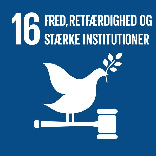 verdensmål nr 16 fred, retfærdighed og stærke institutioner
